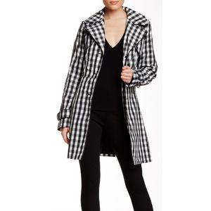 Laundry gingham black white checkered raincoat